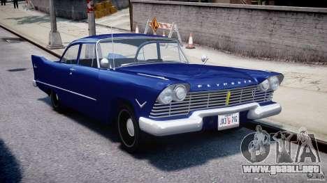 Plymouth Savoy Club Sedan 1957 para GTA 4 vista hacia atrás