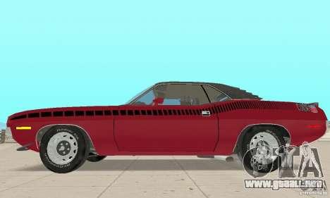 Plymouth Cuda AAR 340 1970 para GTA San Andreas vista posterior izquierda