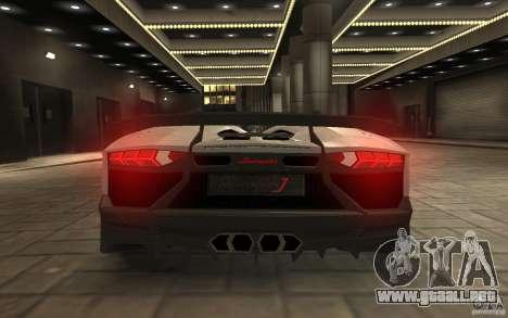 Lamborghini Aventador J para GTA 4 vista hacia atrás