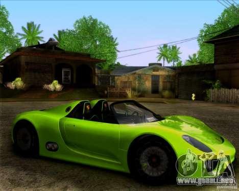 Porsche 918 Spyder Concept Study para GTA San Andreas vista posterior izquierda