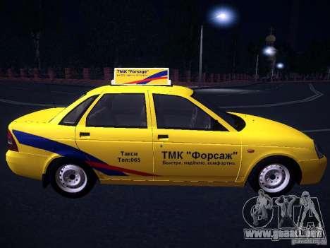 LADA Priora 2170 Taxi TMK Afterburner para visión interna GTA San Andreas