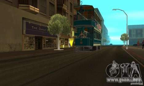Double Decker Tram para GTA San Andreas vista posterior izquierda