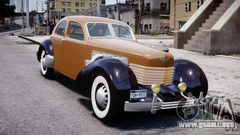 Cord 812 Charged Beverly Sedan 1937 para GTA 4 vista hacia atrás