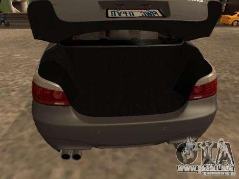 BMW M5 E60 2009 v2 para vista inferior GTA San Andreas