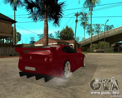 Ferrari 612 Scaglietti GTS LaMans TUNING para GTA San Andreas vista posterior izquierda