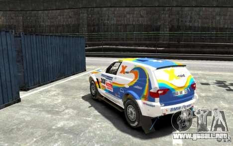BMW X3 CC DAKAR para GTA 4 Vista posterior izquierda