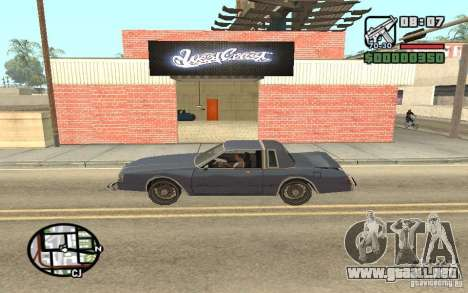 Una tienda de pintura West Coast Customs para GTA San Andreas segunda pantalla