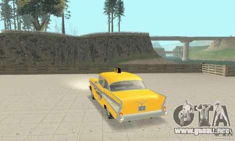 Chevrolet Bel Air 4-door Sedan Taxi 1957 para GTA San Andreas vista posterior izquierda