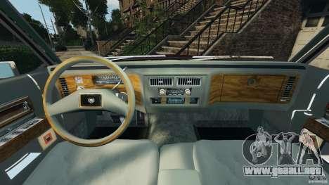 Cadillac Fleetwood Brougham Delegance 1986 para GTA 4 vista interior