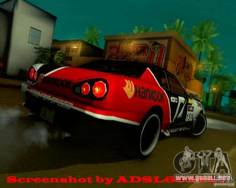 Need for Speed Elegy para GTA San Andreas vista posterior izquierda