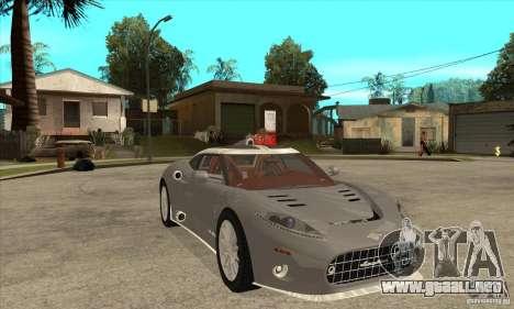 Spyker C8 Aileron para GTA San Andreas vista hacia atrás