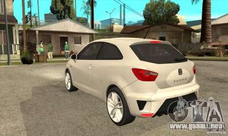 Seat Ibiza Cupra 2009 para GTA San Andreas vista posterior izquierda