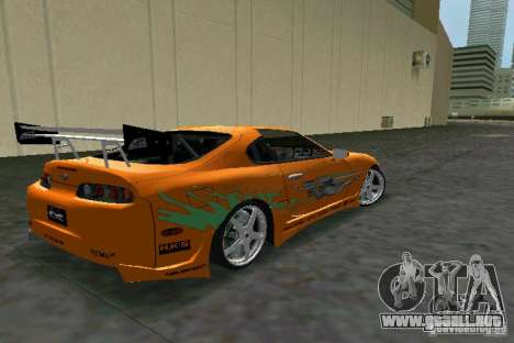 Toyota Supra Fast and the Furious para GTA Vice City visión correcta