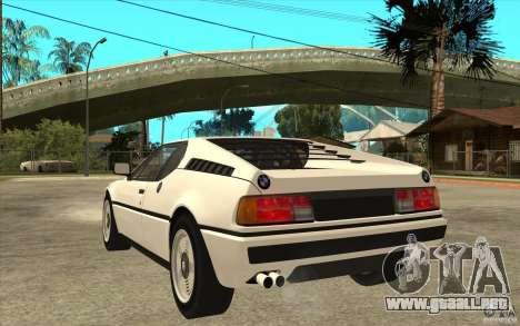 BMW M1 1981 para GTA San Andreas vista posterior izquierda