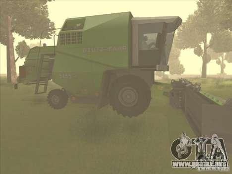Deutz Harvester para GTA San Andreas vista posterior izquierda