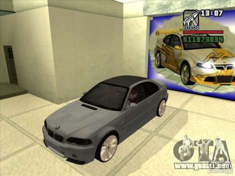 BMW M3 CSL E46 G-Power para GTA San Andreas vista hacia atrás
