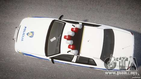Ford Crown Victoria Croatian Police Unit para GTA 4 Vista posterior izquierda