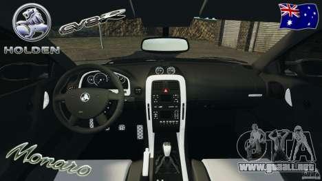 Holden Monaro CV8-R para GTA 4 vista hacia atrás