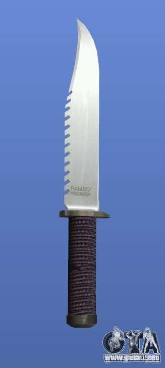 Cuchillo de Rambo sin firma para GTA 4 adelante de pantalla
