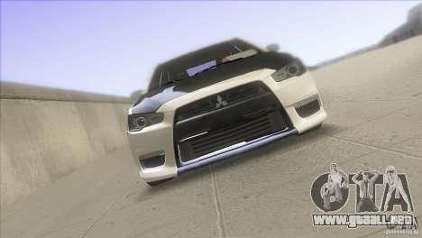 Mitsubishi Lancer Evo IX DIM para la visión correcta GTA San Andreas