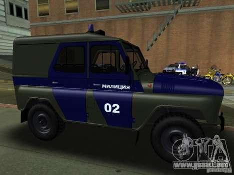 Policía UAZ 3151 para GTA San Andreas vista hacia atrás