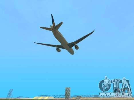 Boeing 787 Dreamliner United Airlines para GTA San Andreas vista hacia atrás