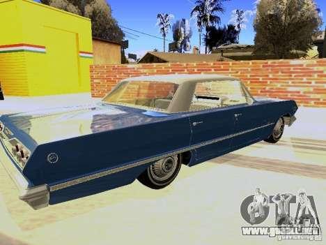 Chevrolet Impala 4 Door Hardtop 1963 para GTA San Andreas vista posterior izquierda
