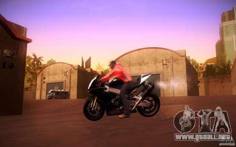Aprilia RSV-4 Black Edition para GTA San Andreas vista hacia atrás