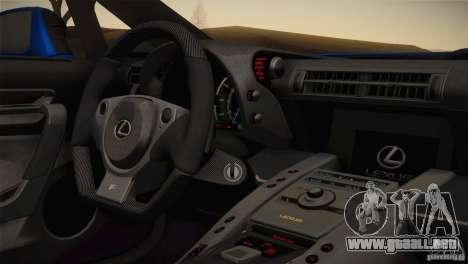 Lexus LFA Nürburgring paquete de rendimiento 201 para visión interna GTA San Andreas