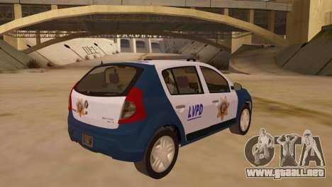 Renault Sandero Police LV para la visión correcta GTA San Andreas