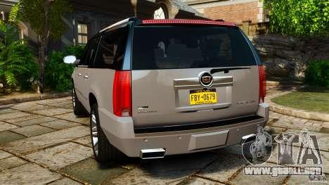 Cadillac Escalade ESV 2012 para GTA 4 Vista posterior izquierda