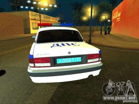 GAZ 31105 policía para GTA San Andreas vista posterior izquierda