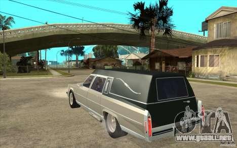 Cadillac Fleetwood 1985 Hearse Tuned para GTA San Andreas vista posterior izquierda