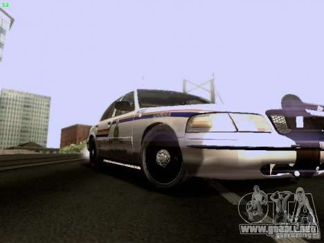 Ford Crown Victoria Canadian Mounted Police para GTA San Andreas vista hacia atrás