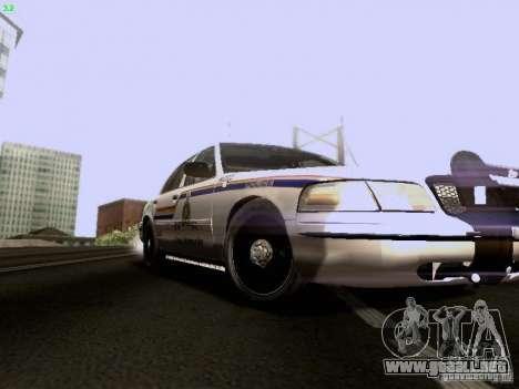 Ford Crown Victoria Canadian Mounted Police para GTA San Andreas vista hacia atrás