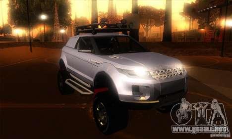 Land Rover Evoque para GTA San Andreas vista hacia atrás
