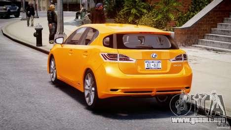 Lexus CT200h 2011 para GTA 4 Vista posterior izquierda