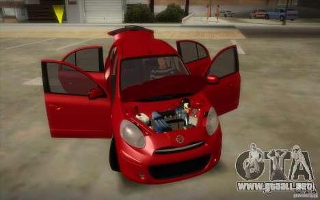 Nissan Micra 2011 para visión interna GTA San Andreas