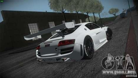 Audi R8 LMS para GTA San Andreas vista hacia atrás