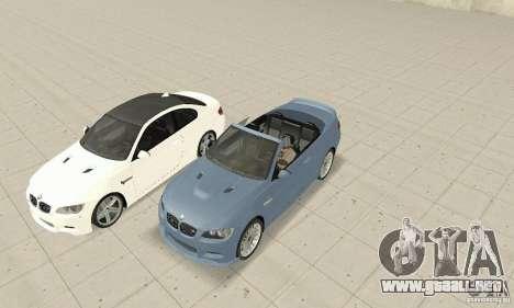 BMW M3 2008 para GTA San Andreas vista posterior izquierda