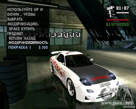 Mazda RX-7 WeaponWar para visión interna GTA San Andreas