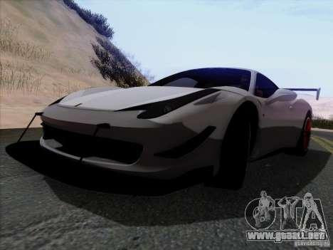 Ferrari 458 Italia Tuned para GTA San Andreas vista hacia atrás