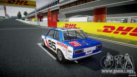 Datsun Bluebird 510 1971 BRE para GTA 4 Vista posterior izquierda