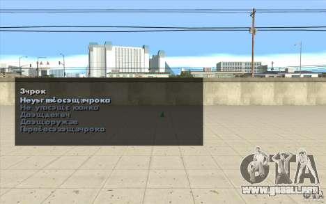 Las características del juego para GTA San Andreas sucesivamente de pantalla
