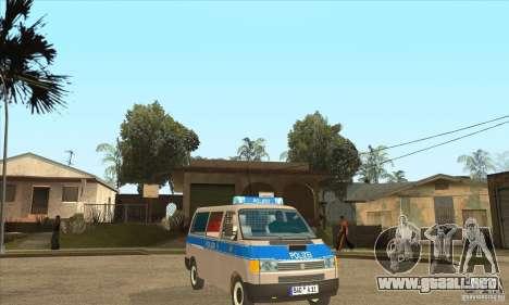 Volkswagen Transporter T4 German Police para GTA San Andreas vista hacia atrás