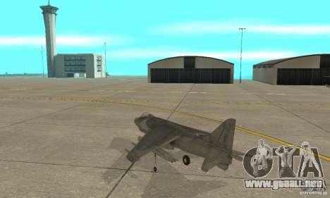 AV-8 Harrier para GTA San Andreas vista posterior izquierda