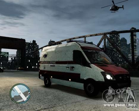 Mercedes Benz Sprinter American Medical Response para GTA 4 Vista posterior izquierda