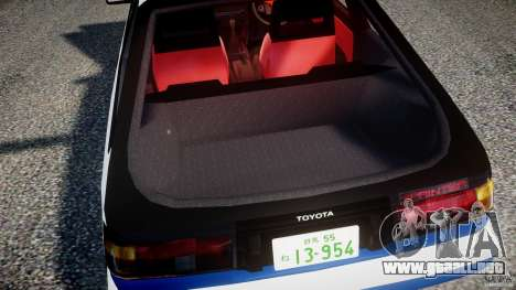 Toyota Trueno AE86 Initial D para GTA 4 vista superior