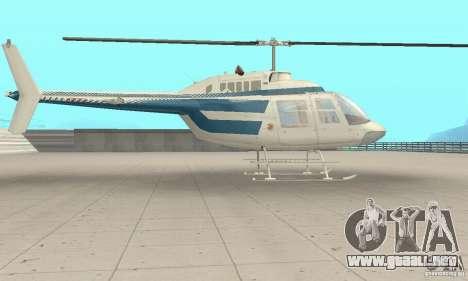 Bell 206B JetRanger II para GTA San Andreas vista posterior izquierda