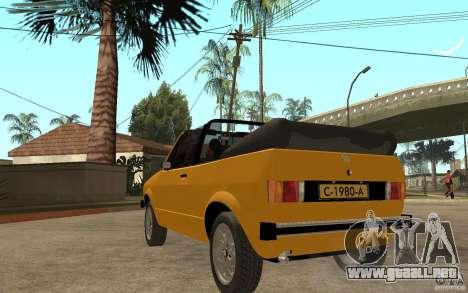 Volkswagen Golf MK1 Cabrio para GTA San Andreas vista posterior izquierda